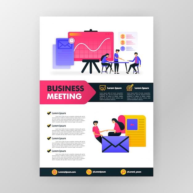 Cartaz da reunião de negócios com ilustração lisa dos desenhos animados. brochura de panfleto de negócios de flayer Vetor Premium