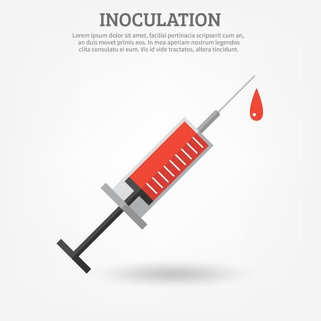 Cartaz da seringa da vacinação Vetor grátis