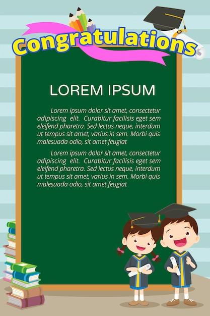 Cartaz de alunos de parabéns Vetor Premium