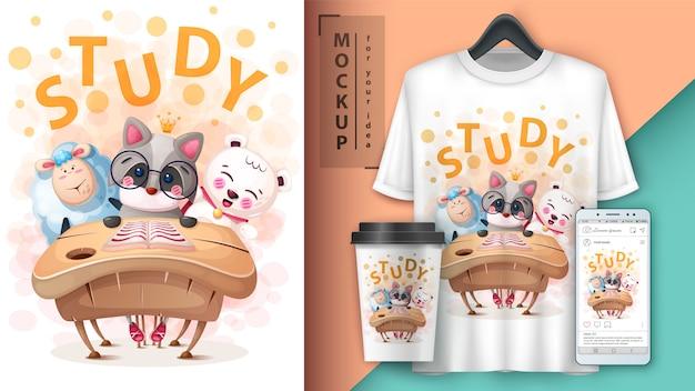Cartaz de animais de escola dos desenhos animados e merchandising Vetor Premium