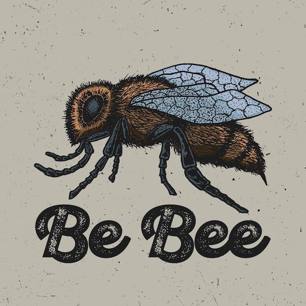 Cartaz de animal criativo com abelha amarela desenhada à mão com tinta na ilustração do centro Vetor grátis
