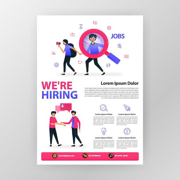 Cartaz de anúncio abrir vaga. nós estamos contratando com ilustração em vetor plana dos desenhos animados. Vetor Premium