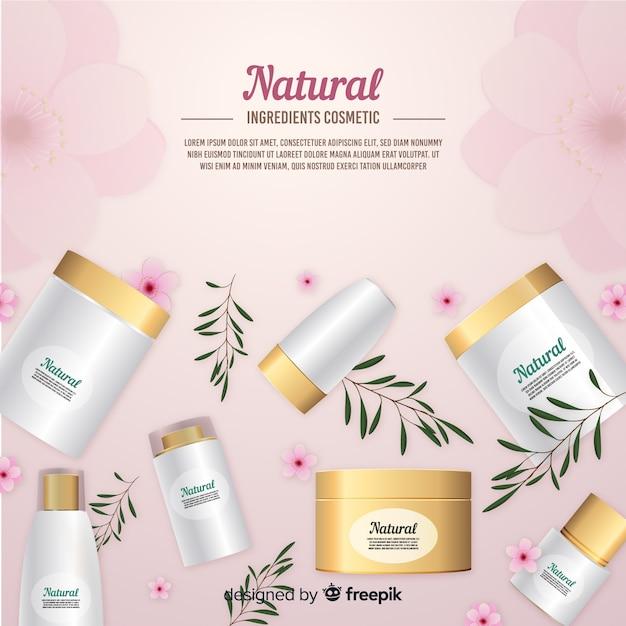 Cartaz de anúncio cosmético natural realista Vetor grátis