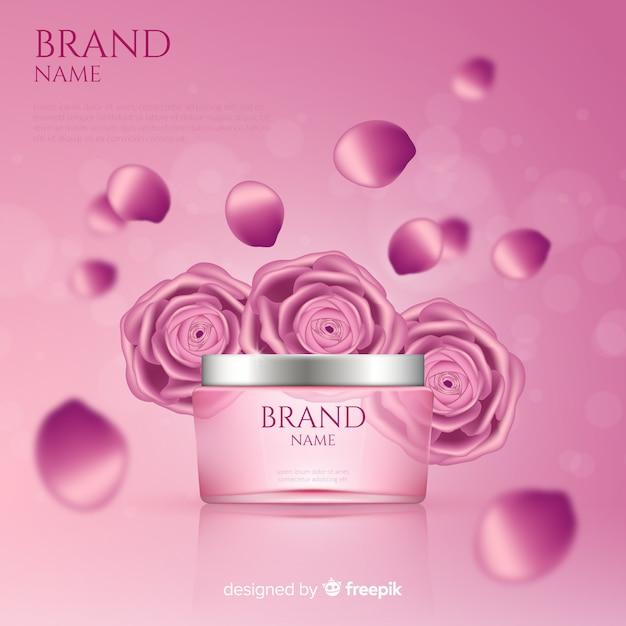 Cartaz de anúncio cosmético rosa realista Vetor grátis