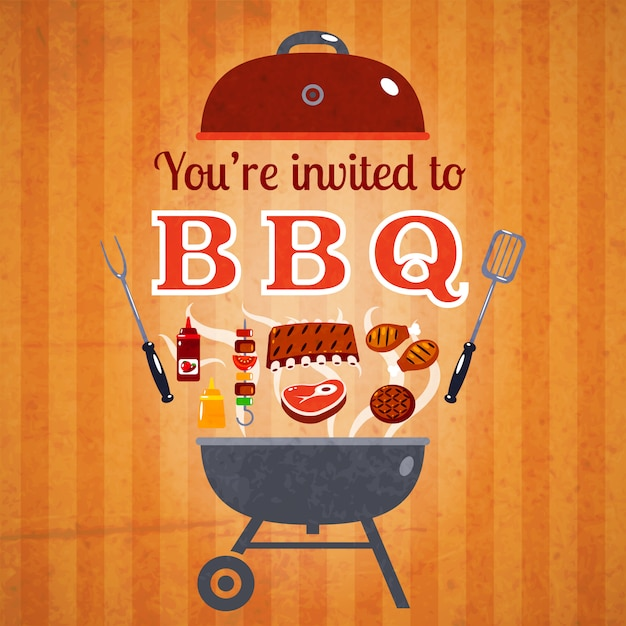 Cartaz de anúncio de evento de convite de churrasco Vetor grátis