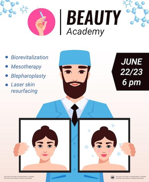 Cartaz de anúncio de oficina de rejuvenescimento facial da academia de beleza com cosmetologista apresentando publicidade de resultados de tratamento de cuidados com a pele Vetor grátis