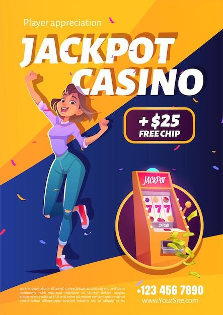 Cartaz de anúncio de vitória de casino de jackpot de caça-níqueis Vetor grátis