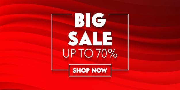 Cartaz de anúncio promocional de mídia social grande venda com tipografia em fundo vermelho com ondas abstratas. design de modelo de marca para desconto de compras. decoração de conteúdo de pano de fundo. ilustração vetorial Vetor Premium