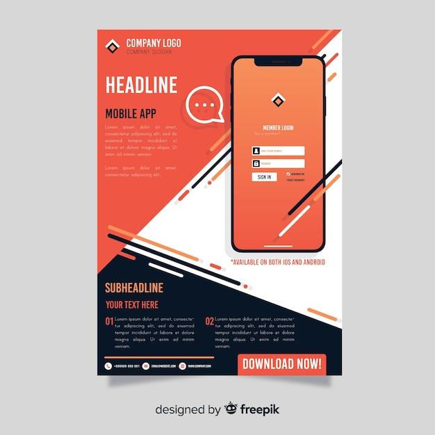 Cartaz de aplicativo móvel de barras Vetor grátis
