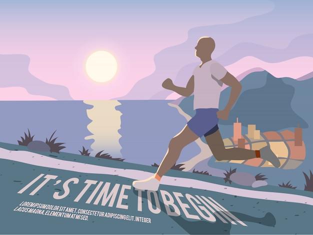 Cartaz de aptidão de homem correndo Vetor grátis