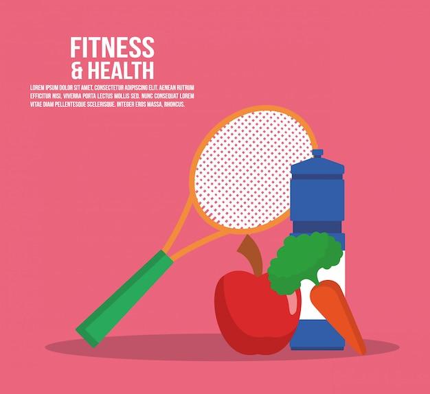 Cartaz de aptidão e saúde com informação e elementos vector design gráfico ilustração Vetor Premium