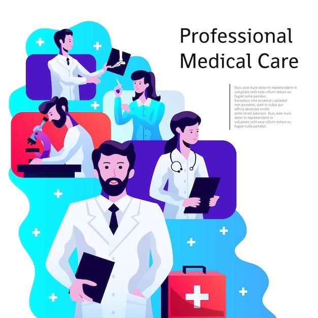 Cartaz de assistência médica Vetor grátis