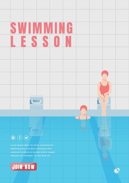 Cartaz de aula de natação Vetor Premium