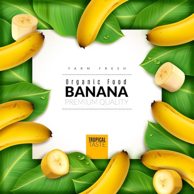Cartaz de banana fruta realista. no centro do banner com bananas, fatias e folhas ao redor Vetor Premium