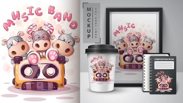Cartaz de banda de música e merchandising. vetor eps 10 Vetor Premium