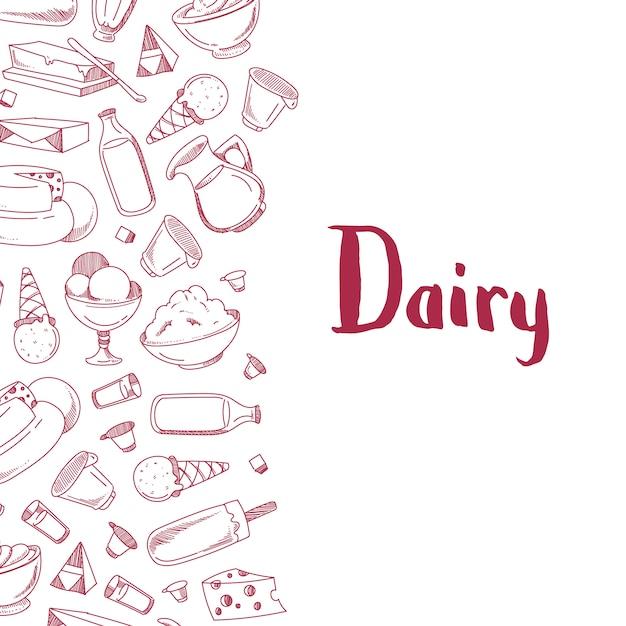 Cartaz de bandeira com produtos lácteos esboçado com lugar para texto Vetor Premium