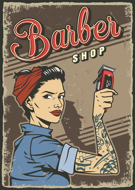Cartaz de barbearia vintage Vetor grátis