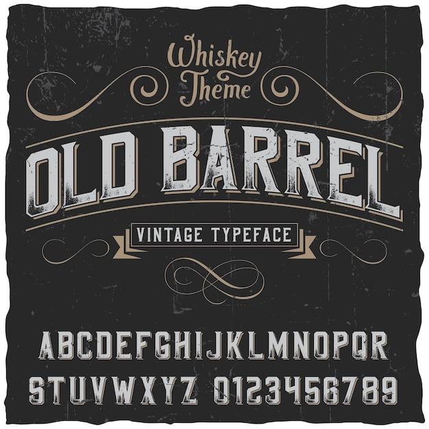 Cartaz de barril antigo com decoração e fita em estilo vintage Vetor grátis