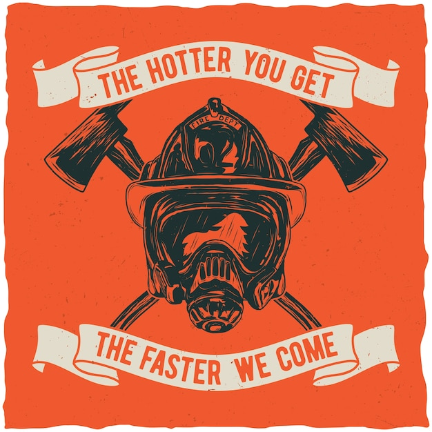 Cartaz de bombeiro com citações inspiradoras Vetor grátis