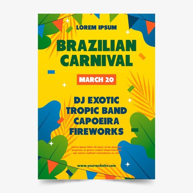 Cartaz de carnaval brasileiro desenhado à mão Vetor grátis