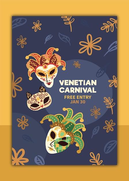 Cartaz de carnaval veneziano desenhado à mão Vetor grátis