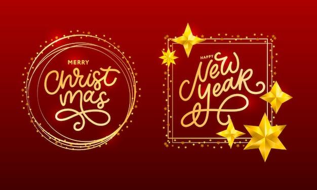 Cartaz de cartão bonito feliz ano novo com fogos de artifício de ouro de palavra de texto preto de caligrafia. Vetor Premium