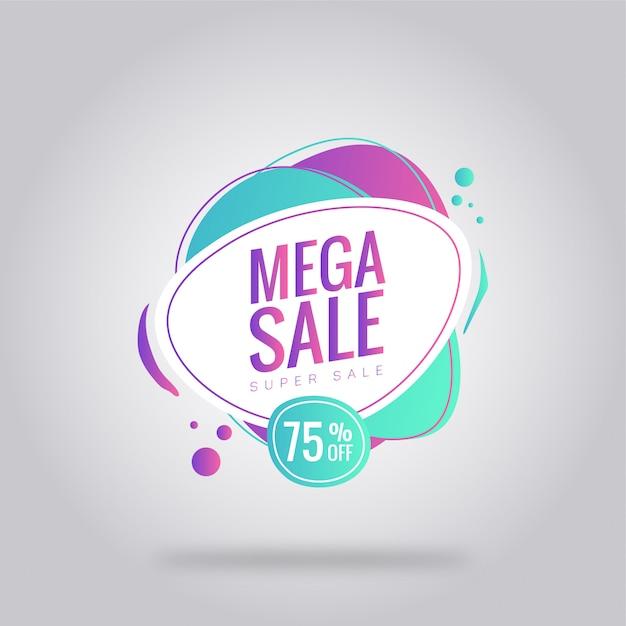 Cartaz de cartão de venda mega Vetor Premium
