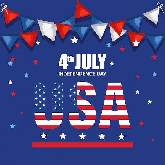 Cartaz de celebração do dia da independência dos eua Vetor grátis