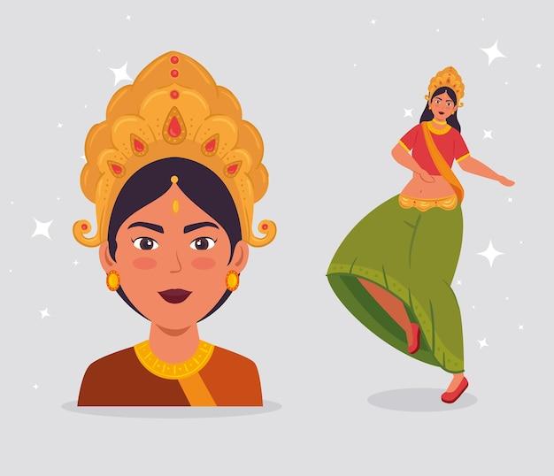 Cartaz de celebração feliz navratri com desenho de ilustração de dança maa durga Vetor Premium