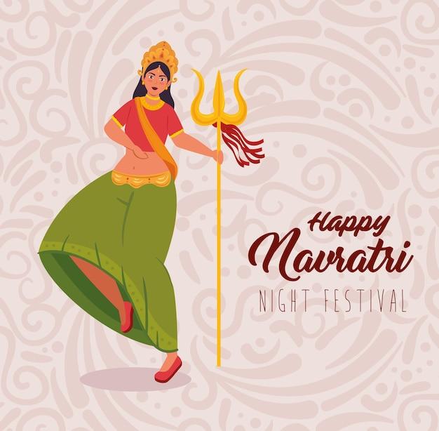 Cartaz de celebração feliz navratri e mulher indiana dançando com desenho de ilustração de tridente Vetor Premium