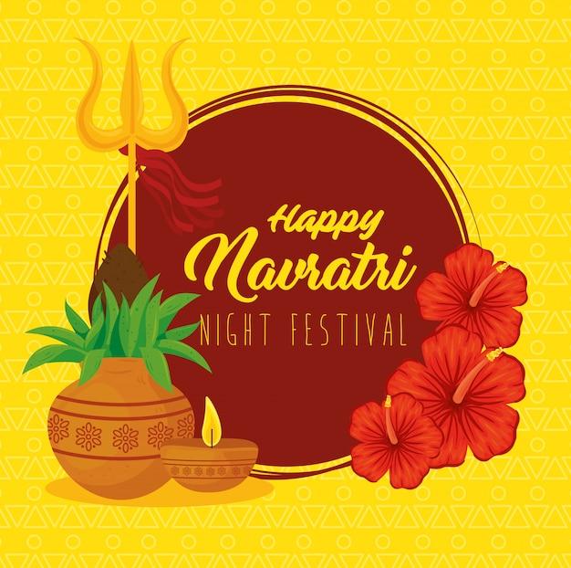 Cartaz de celebração feliz navratri, festival noturno com decoração Vetor Premium