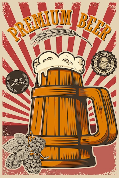 Cartaz de cerveja em estilo retro. objetos de cerveja no fundo do grunge. elemento para cartão, folheto, banner, impressão, menu. ilustração Vetor Premium