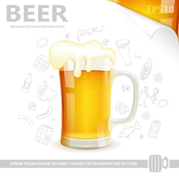 Cartaz de cerveja Vetor Premium