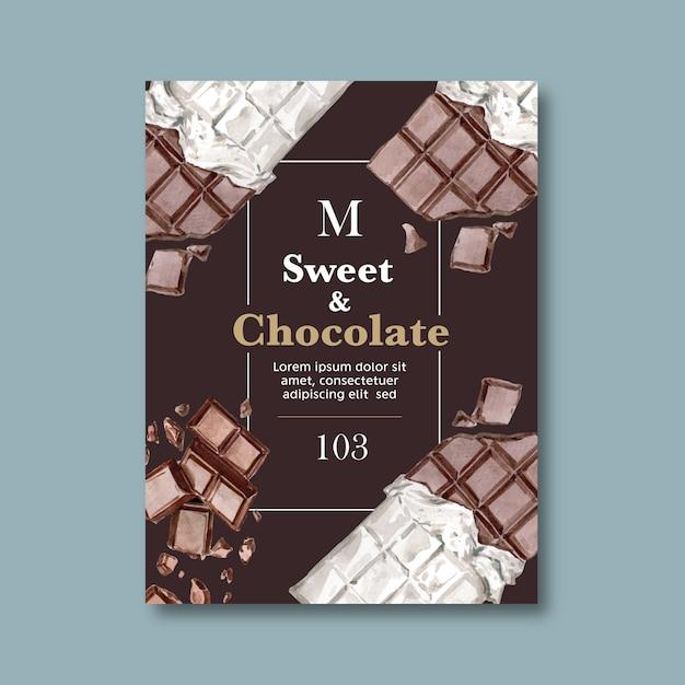 Cartaz de chocolate com ingredientes fazendo barra de chocolate quebrou, ilustração de aquarela Vetor grátis
