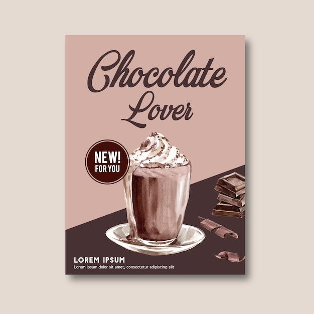 Cartaz de chocolate com ingredientes fazendo barra de chocolate quebrou Vetor grátis