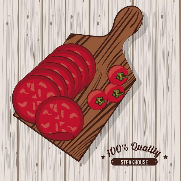 Cartaz de churrasco de churrascaria Vetor Premium