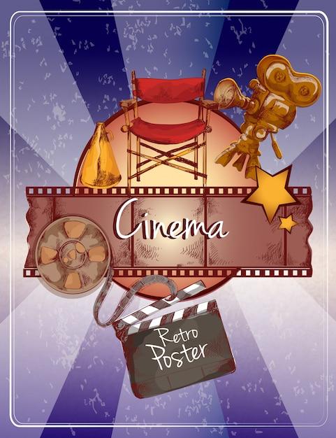 Cartaz de cinema de esboço Vetor Premium