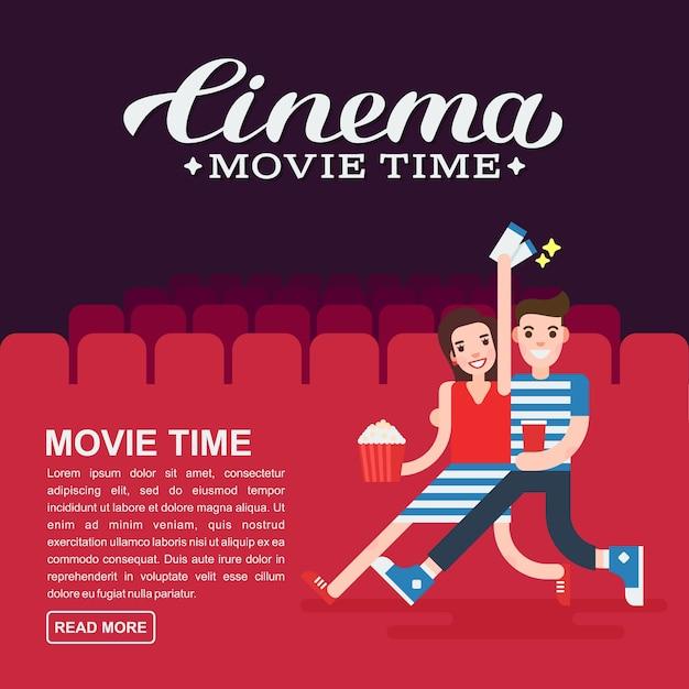 Cartaz de cinema ou modelo de banner de filme letras Vetor Premium