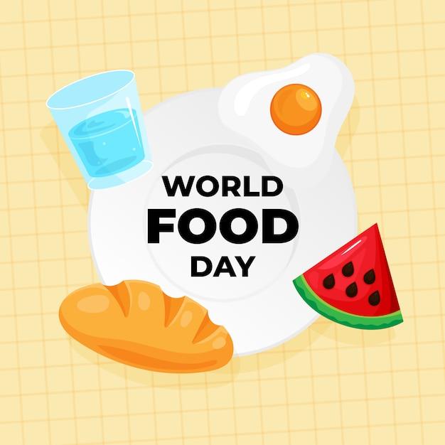 Cartaz de comemoração do dia mundial da comida. vários tipos de comida e bebida ícone no prato Vetor Premium