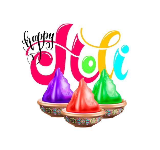 Cartaz de comemoração feliz holi para férias de primavera indiano Vetor Premium