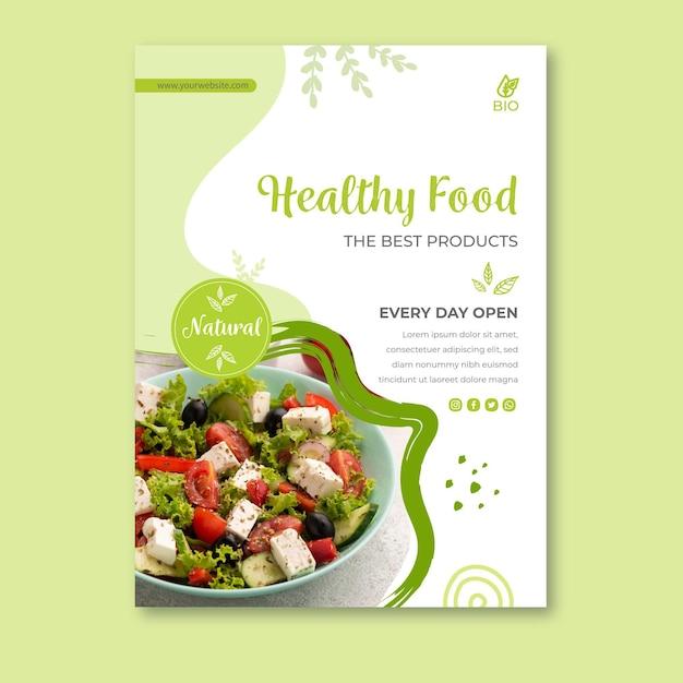 Cartaz de comida biológica e saudável Vetor grátis