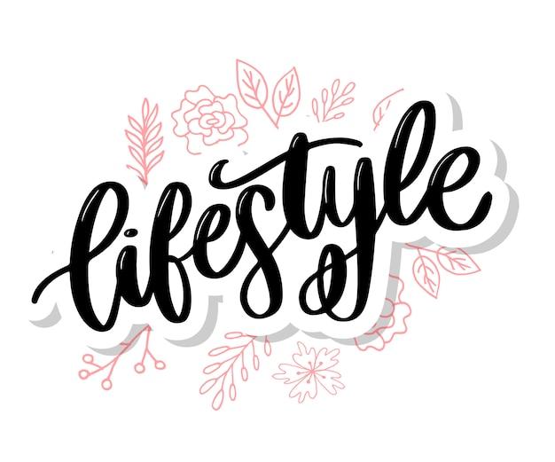 Cartaz de comida saudável de estilo de vida de fundo ou banner com frutas de mão desenhada e estilo de vida saudável de texto de letras Vetor Premium