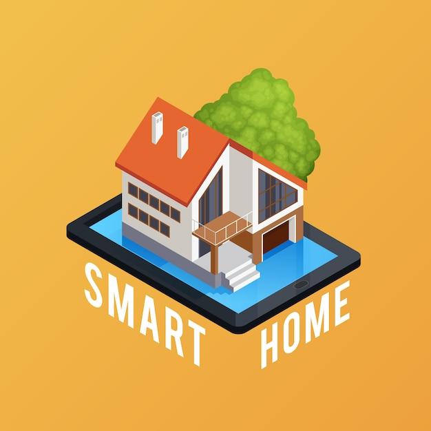 Cartaz de composição isométrica casa inteligente Vetor grátis