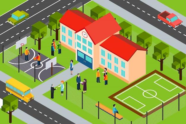 Cartaz de composição isométrica de área de construção de escola Vetor grátis