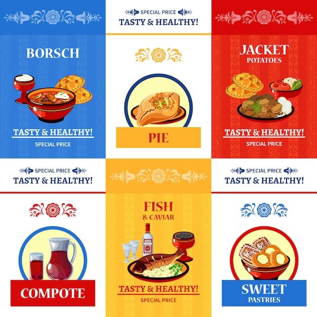 Cartaz de composição plana de culinária russa Vetor grátis