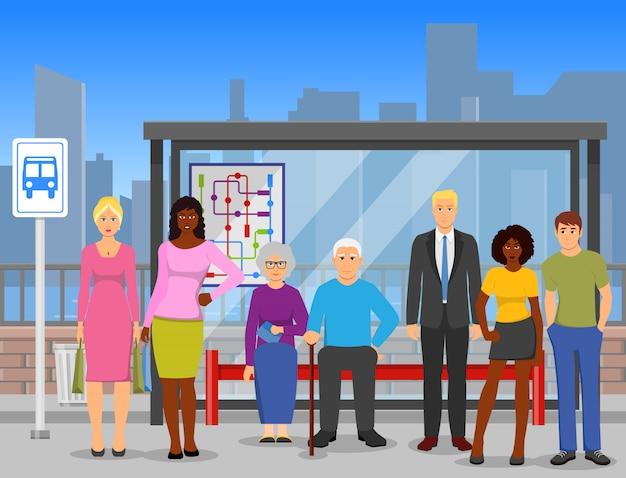 Cartaz de composição plana de parada de ônibus de multidão Vetor grátis
