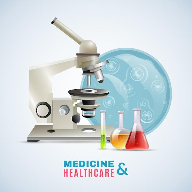 Cartaz de composição plana de pesquisa médica de cuidados de saúde Vetor grátis