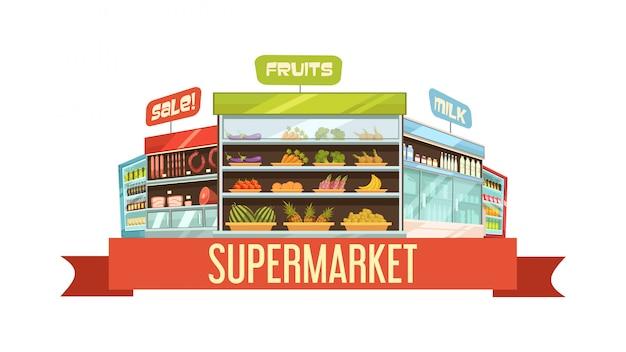 Cartaz de composição retrô de carrinho de exposição de supermercado com produtos lácteos e frutas prateleiras Vetor grátis
