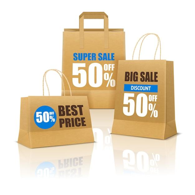 Cartaz de compras com sacos de papel Vetor grátis