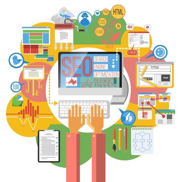 Cartaz de computador de conceito de seo Vetor grátis